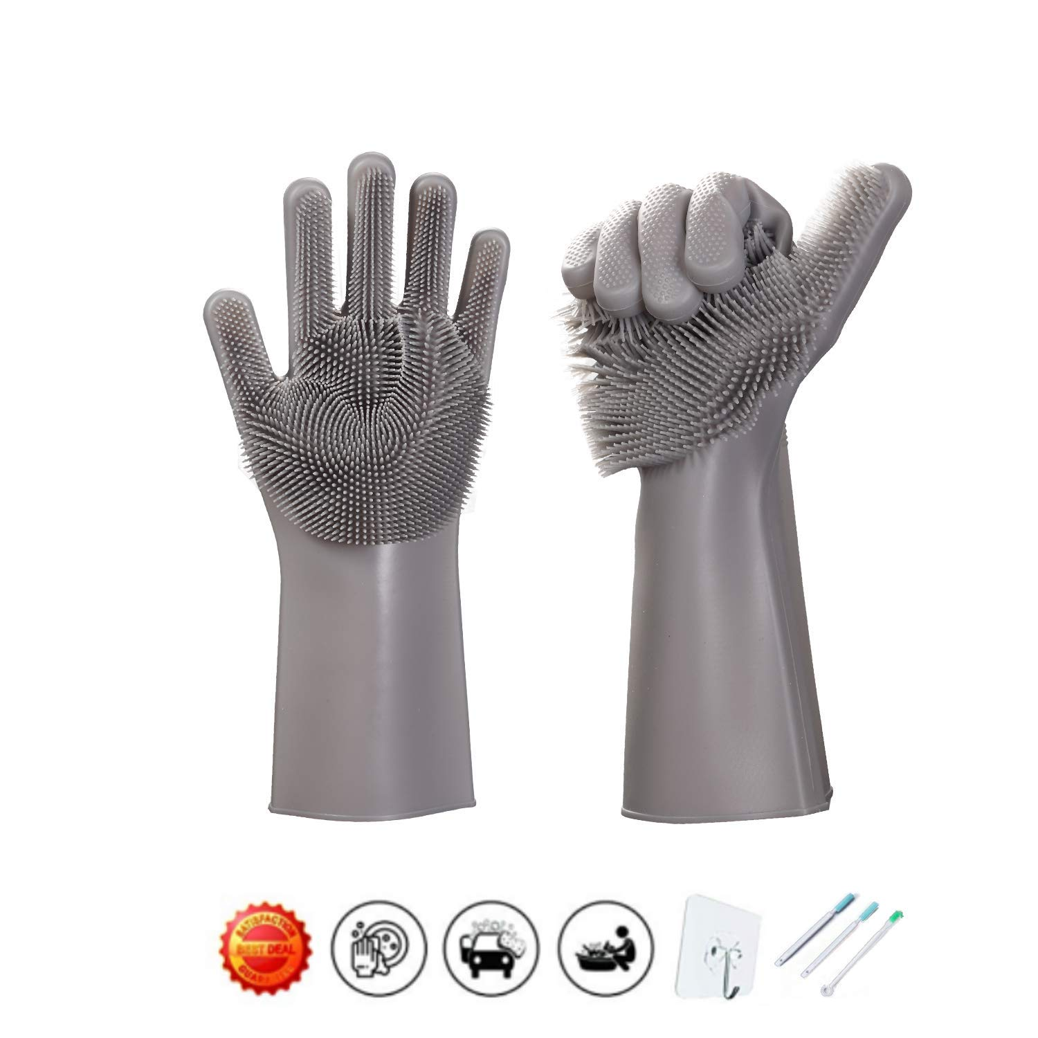 Magic Saksak Scrubber Gloves - 1 Piar Scrubbing Gloves - Reusable Silicone Dishwashing Gloves with Brush Scrub Gloves - Cleaning Gloves For Kitchen, Bathroom, Car, Pet and More(Gray)