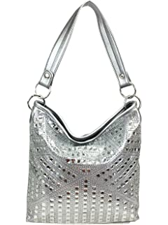 Amazon.com  Zzfab Sparkle Rhinestone Suede Hobo Handbag Pewter  Shoes 7be774e62dd33