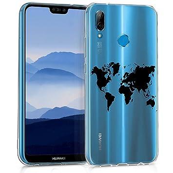 kwmobile Funda para Huawei P20 Lite - Carcasa de TPU para móvil y diseño de Mapa del Mundo en Negro/Transparente