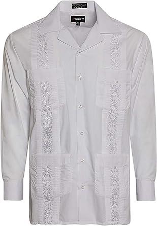 Volcan - Camisa de manga larga para hombre, estilo guayabera ...