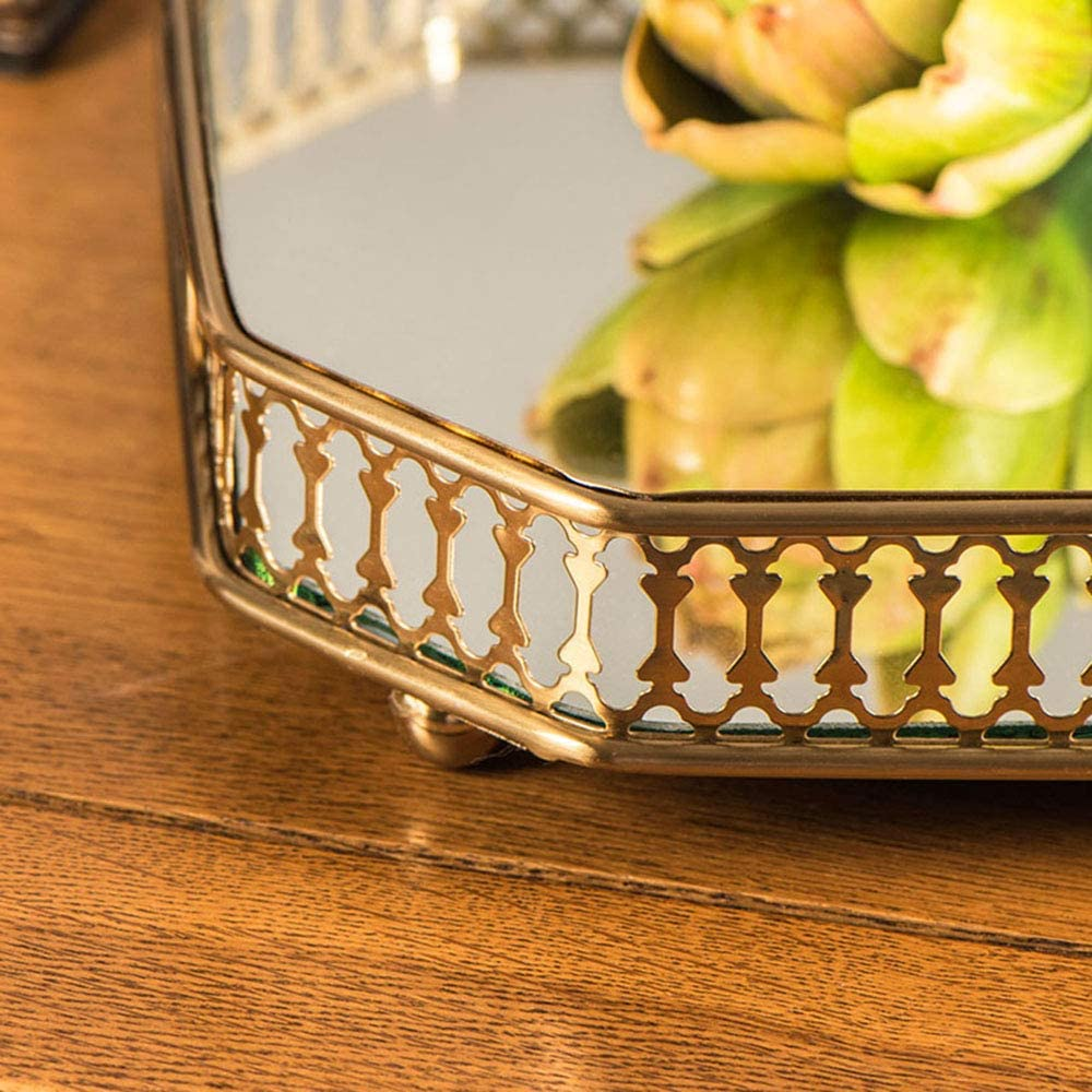 """Keefo Mirror Tray 13.8/""""/x 9.6/""""/x 2.2/"""" Vanity Tray with Square Metal/for Bathroom Bedroom Countertop Organizer Gold"""