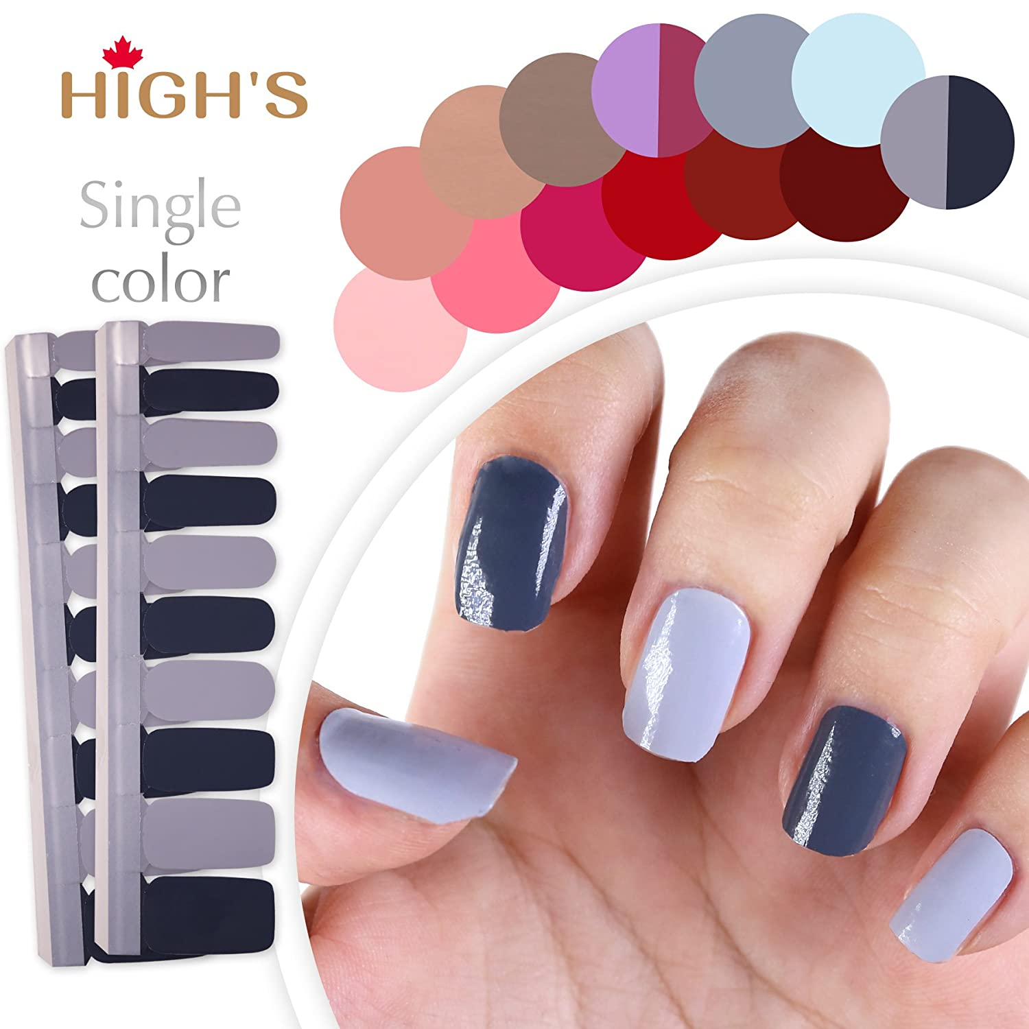 HIGH'S Single Color Series Manicure Nail Polish Strips Nail Wraps, Grey Zone HIGH' S