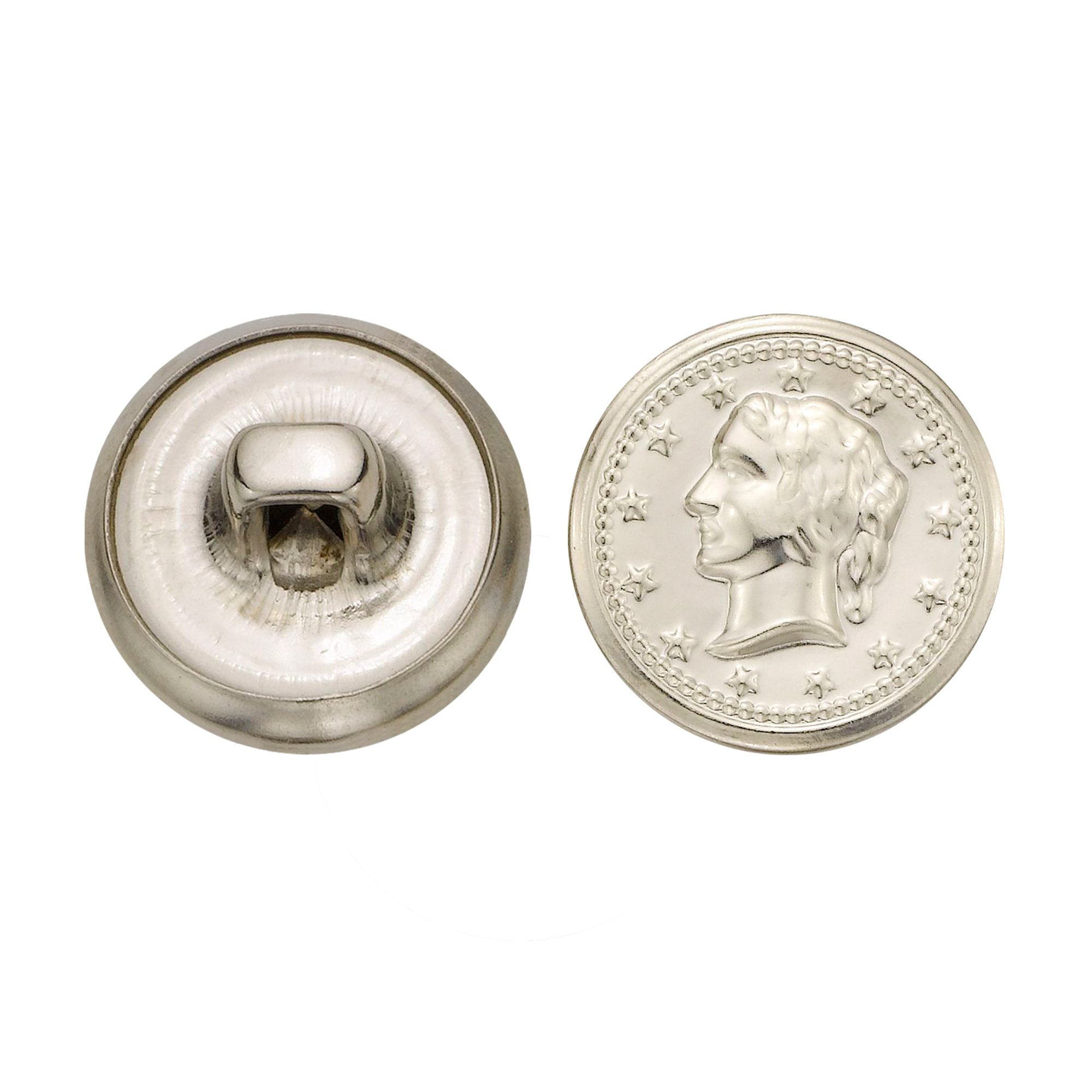 C&C Metal Products 5328 Lady Head Coin Metal Button, Size 24 Ligne, Nickel, 72-Pack