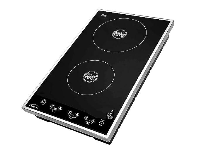 LACOR 69132-Placa Inducción Profesional 3500W, INOX y Negro, 34x43x12 cm