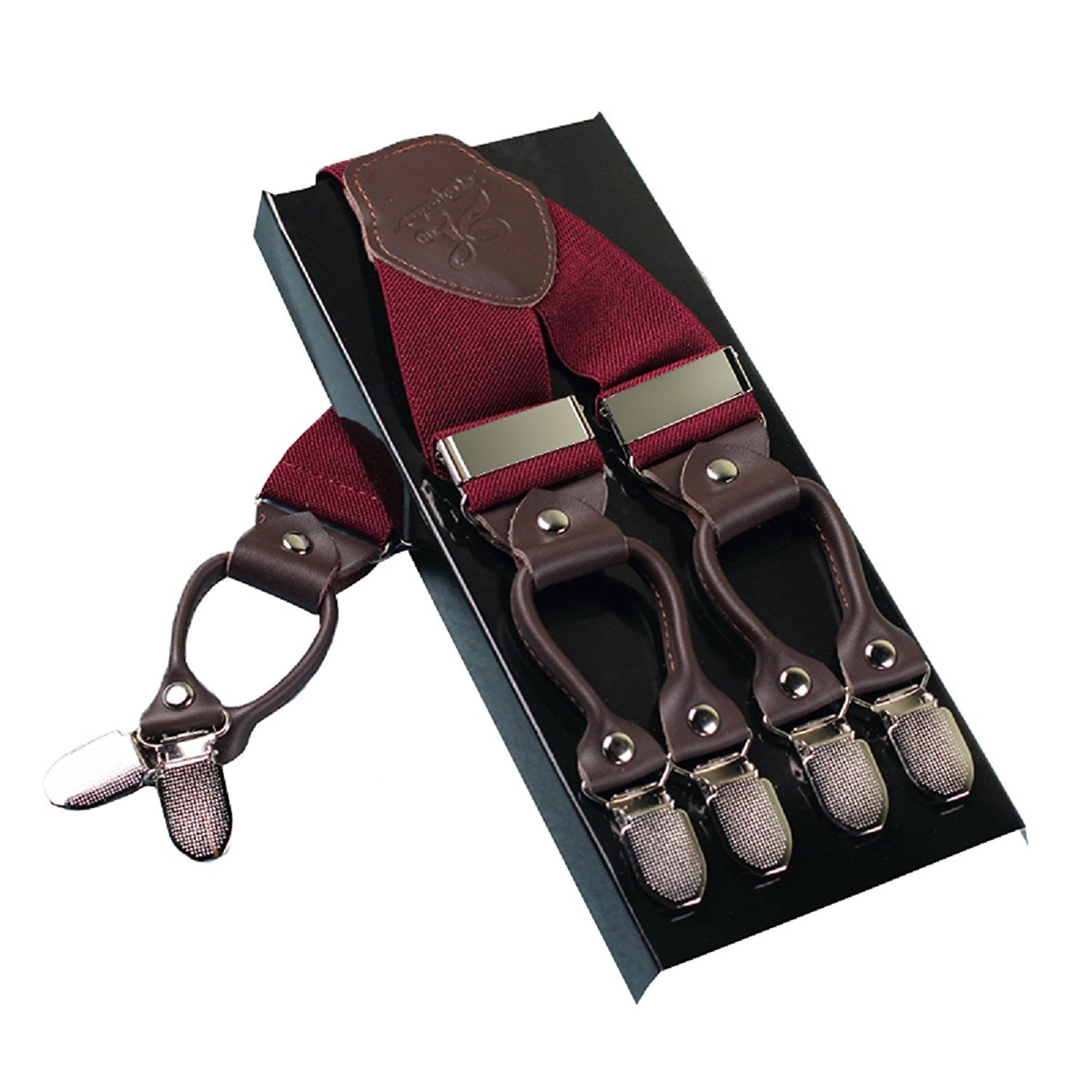 Wide Sturdy Suspenders Mens Casual Wine Red Suspenders for Engagement