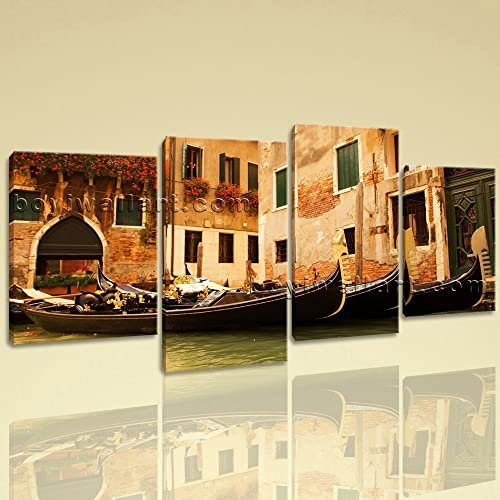 Amazon.com: Large Venice Gondola Ride Landscape Wall Art Print On ...