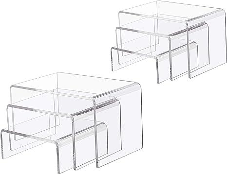 6Pcs Acrylic Display Stand Jewelry Showcase Storage Rack Shelf Holder Supplies