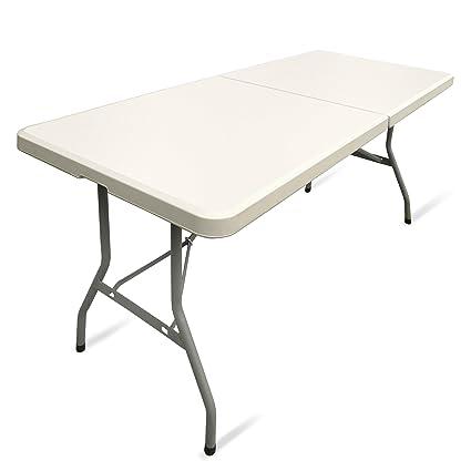 Klapptisch Gartentisch.Jom 127130 Klapptisch Gartentisch Farbton Creme Hell Mit Tragegriff 183 X 75 X 74 Cm Weiß