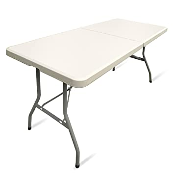 JOM 127130 Table Pliante Table de Jardin Couleur Crème/Clair avec ...