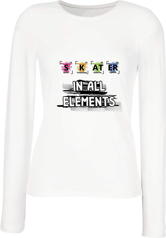 lepni.me Camisetas de Manga Larga para Mujer Patinador en Todos los Elementos Química Periódica de Mesa Deporte: Amazon.es: Ropa y accesorios