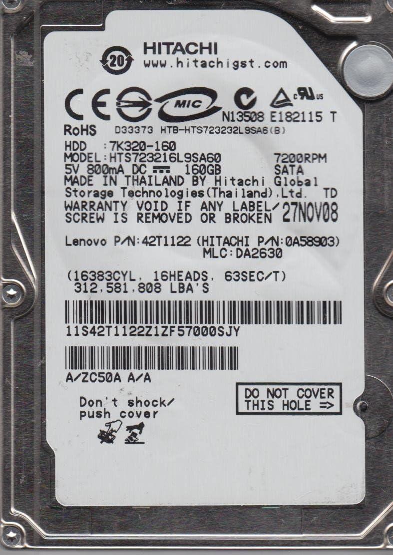 HTS723216L9SA60 Hitachi 160GB SATA 2.5 Hard Drive MLC DA2630 PN 0A58903