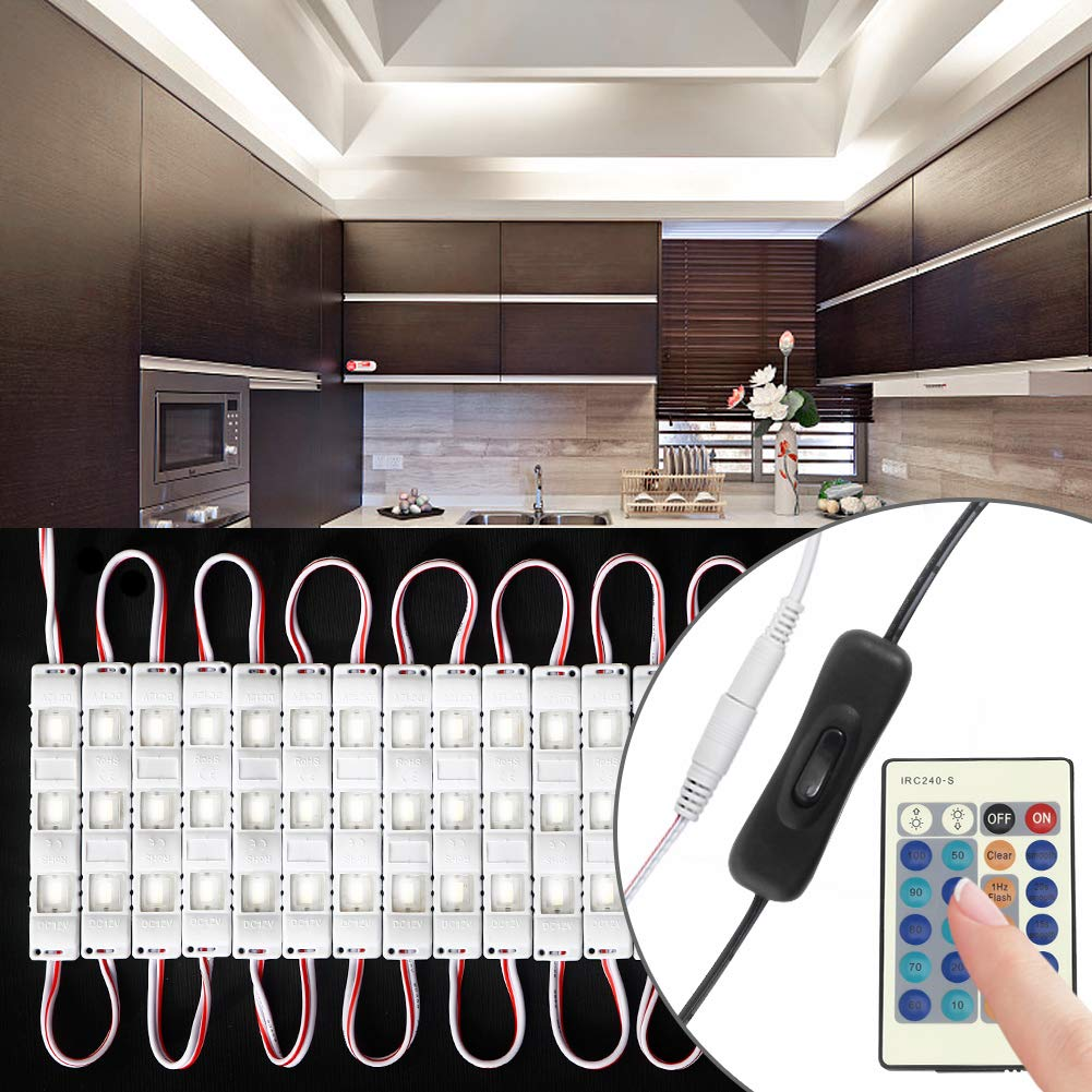 Litake Under Cabinet Lights, Full Set 10ft 60 LEDs 6000K Daylight White, Waterproof Closet Kitchen Counter LED Light with Hand Swtich and Remote Control
