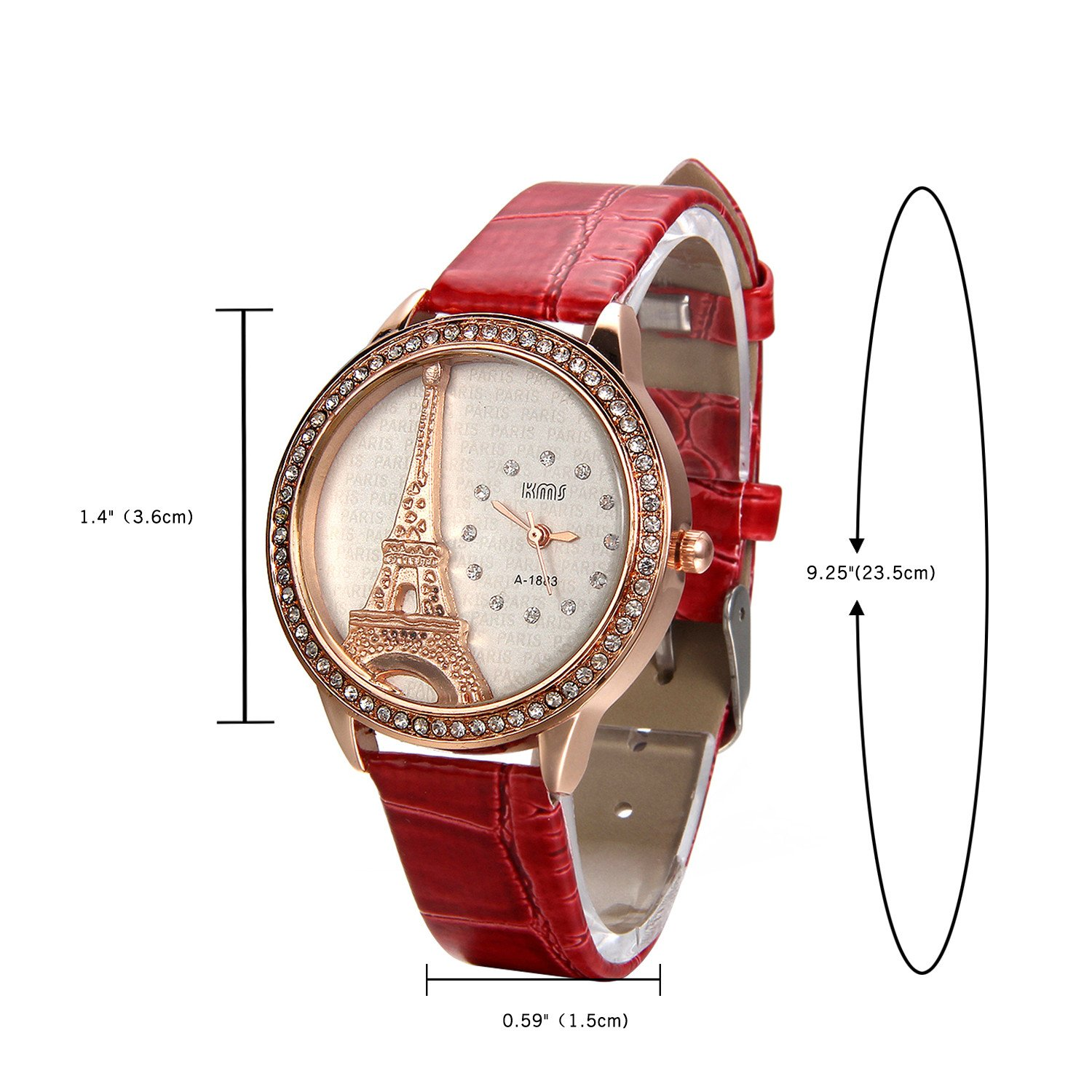 Amazon.com: JewelryWe Mother Day Gift Bling Rhinestone Accented Eiffel Tower Red Leather Watch Ladies Women Watches: Watches