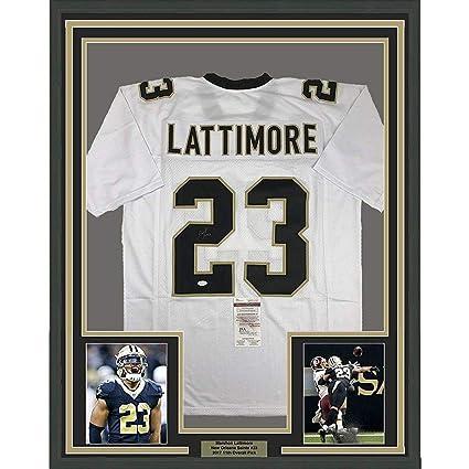 Signed Marshon Lattimore Jersey - FRAMED 33x42 White COA - JSA Certified -  Autographed NFL Jerseys 07b236a0f