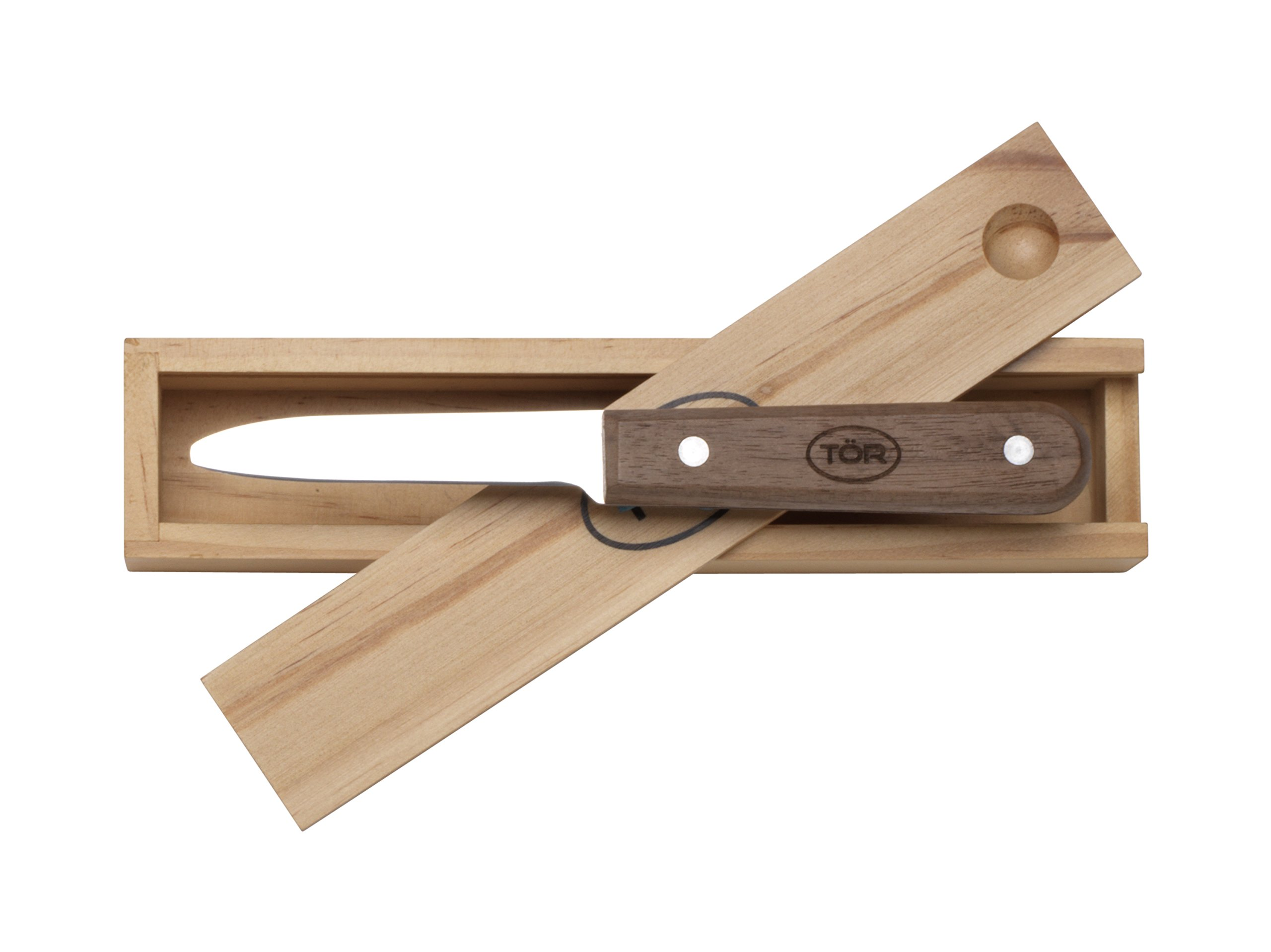 Clam Shucker Knife in Naturalwood Gift Box by TOR Kitchenware – The German Patented Stainless Steel Clam Shucking Knife and Opener Tool