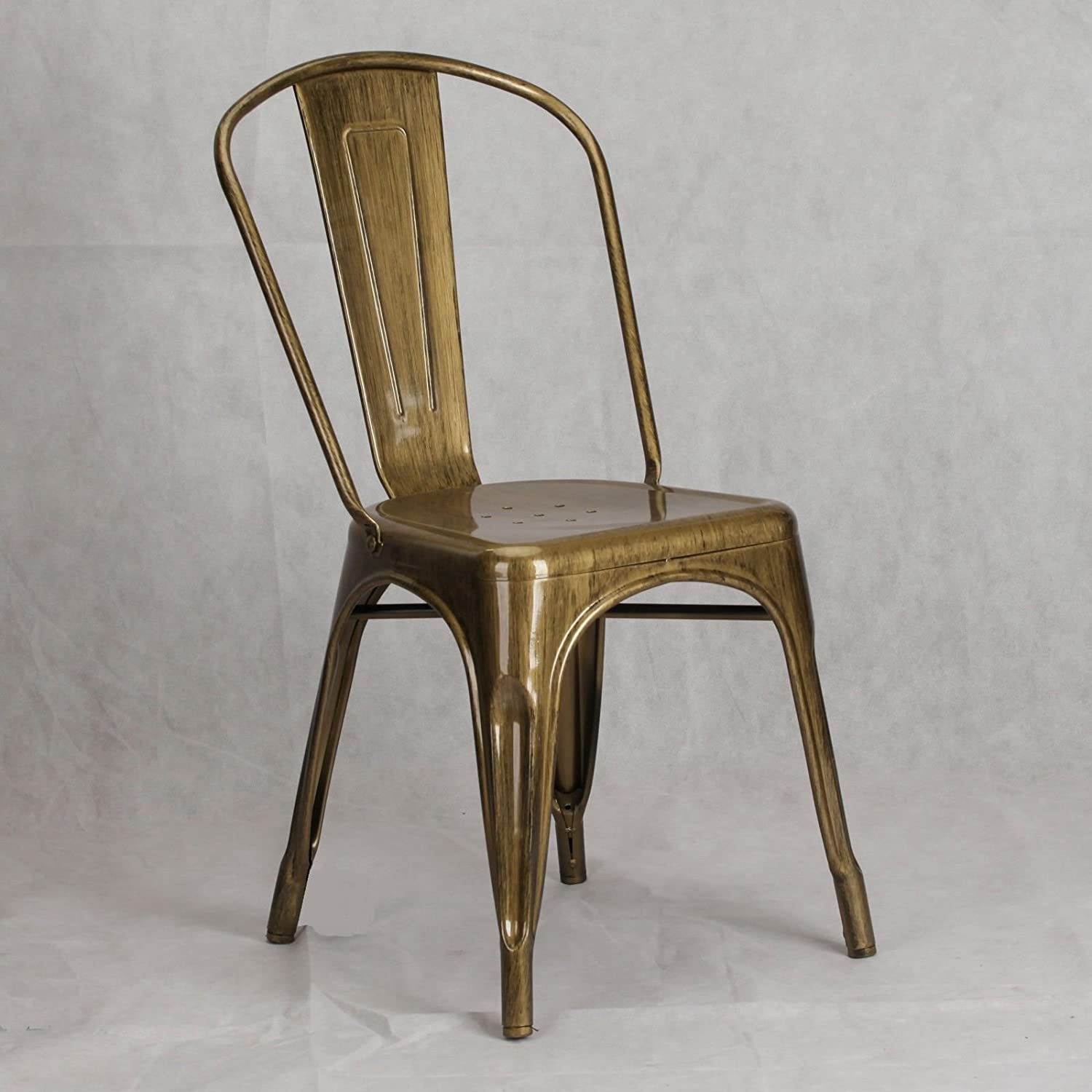 LMC TOLIX INSPIRED METAL DINING CHAIR BRASS GOLD INDUSTRIAL CAFE STACKABLE SEAT