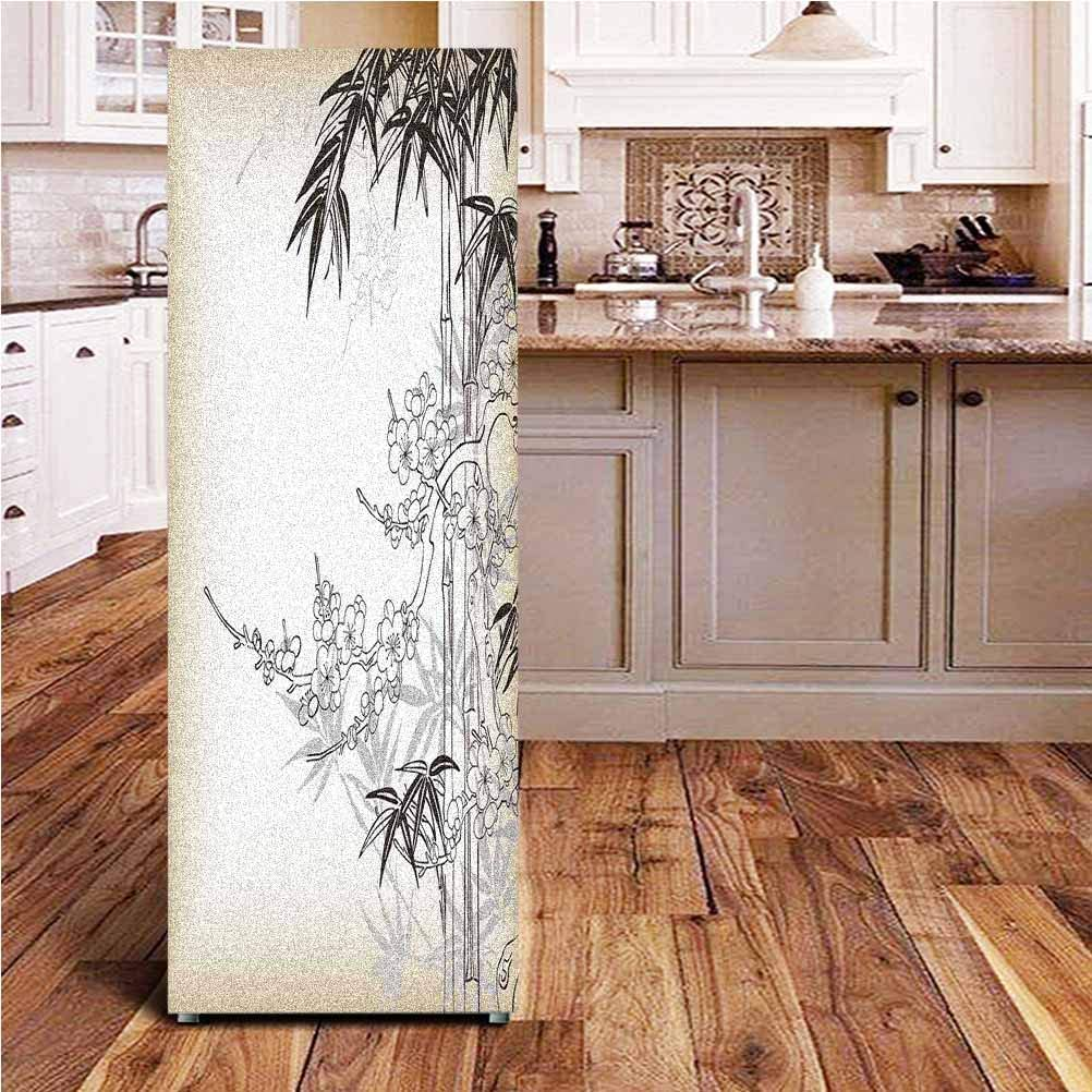 """Japanese Bamboo Decor 3D Door Fridge DIY Stickers,Abstract Tree and Bamboo Pattern Floral Leaf Design Backdrop Classic Leaf Pearls Door Cover Refrigerator Stickers for Home Gift Souvenir,24x70"""""""