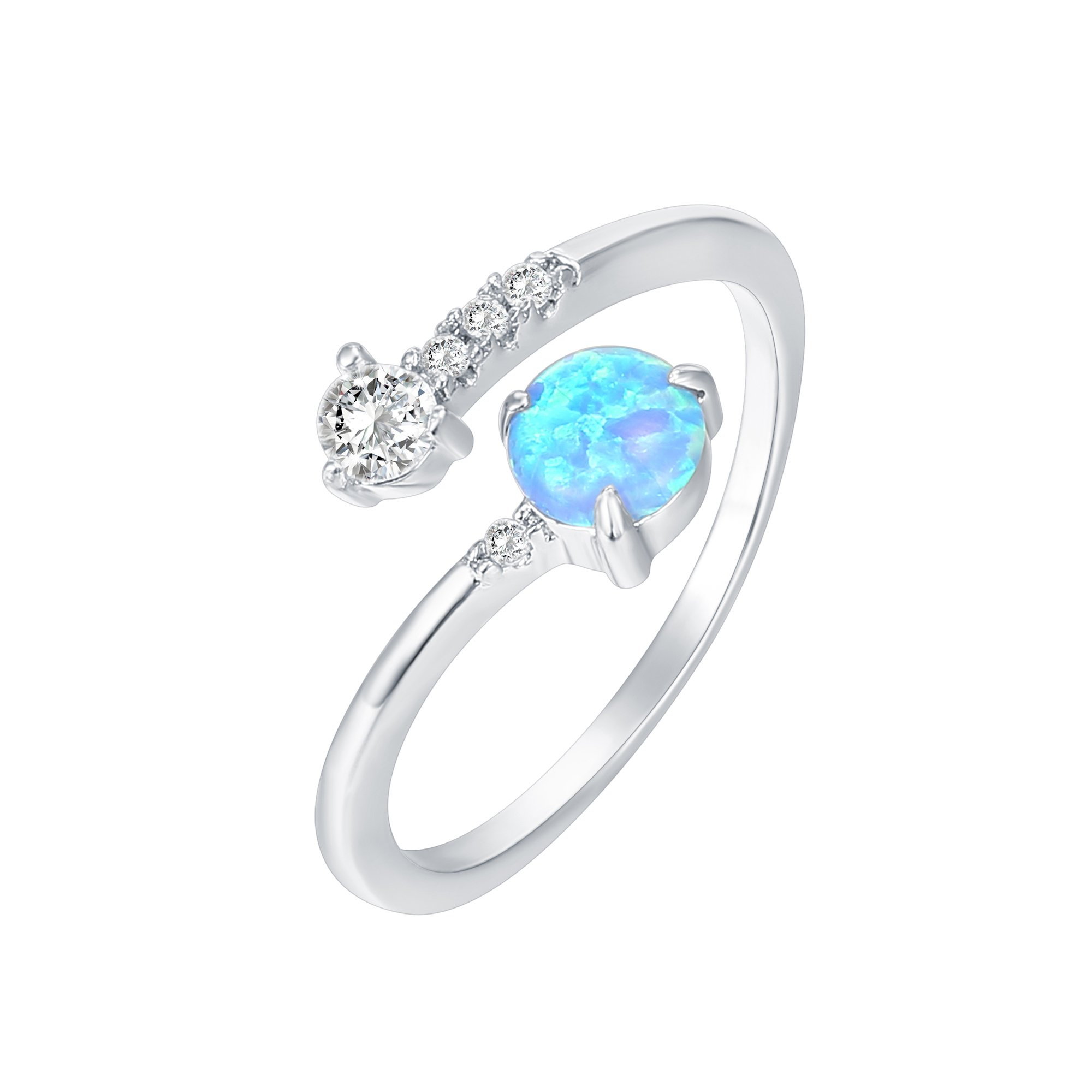 PAVOI 14K White Gold Plated Wrap Cubic Zirconia and Created Blue Opal Ring Stackable Ring