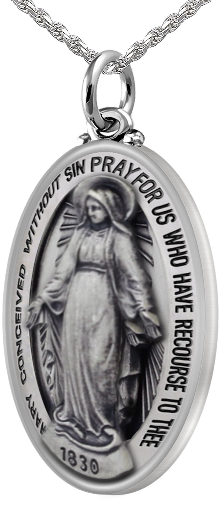 New 0.925 Sterling Silver Large 1.5'' Oval Miraculous Virgin Mary Antique Pendant 3.3mm Rope Necklace, 20''