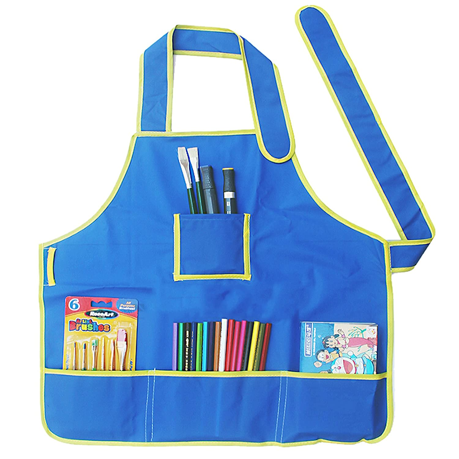 1pc Waterproof Kids Apron Painting Aprons Children's Art Smock With 4 Pockets For Kids Painting And Baking Blue AZX