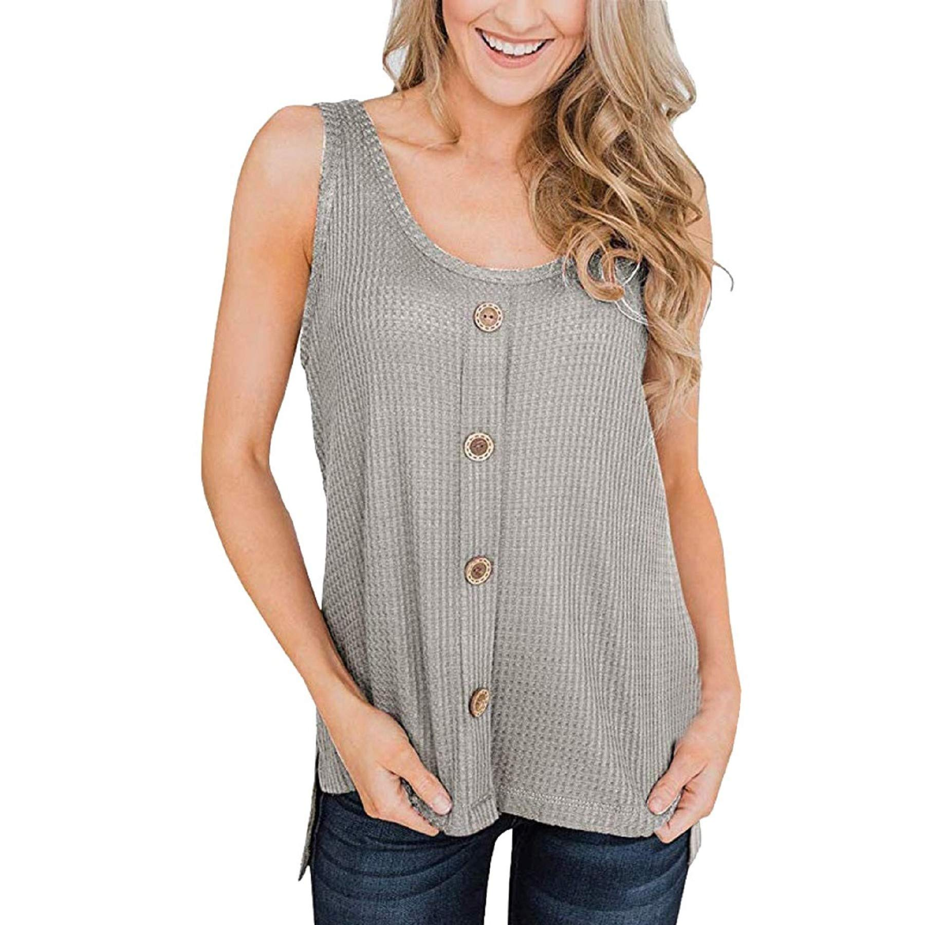 Womens Waffle Knit Tunic Blouse Sleeveless Button Up Tops Casual Summer Loose Fitting Shirts Blouses Gray
