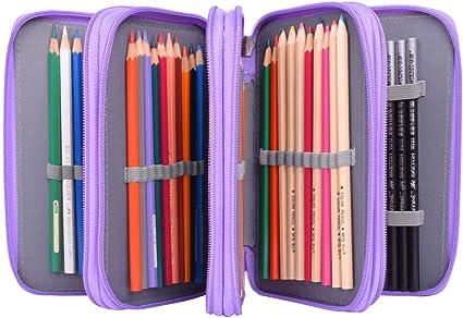 Estuche Oxford con 4 bolsillos interiores, con gran capacidad, estuche para lápices, pinceles, lápices, estuche para niños y adultos, color morado 19.5 x 12.5 x 8 cm(LxBxH): Amazon.es: Oficina y papelería