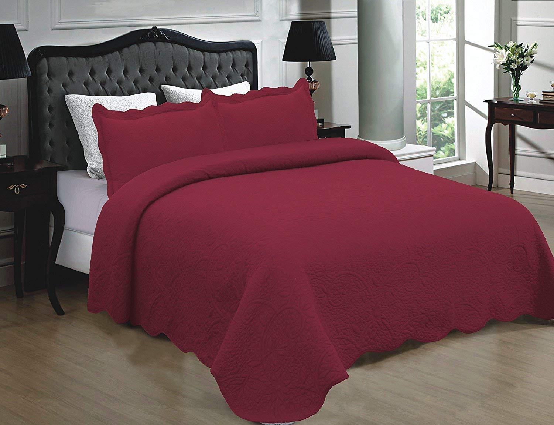 Homemusthaves-3ピース ベッドスプレッド キルト 高品質ベッドカバー 刺繍キルト。 キング ピンク B01HU68WT2 ホットピンク キング