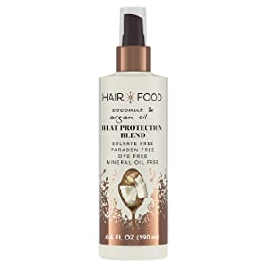 Hair Food Coconut & Argan Oil Heat Protectant Spray Blend, 6.4 fl oz | Heat Shield Protector