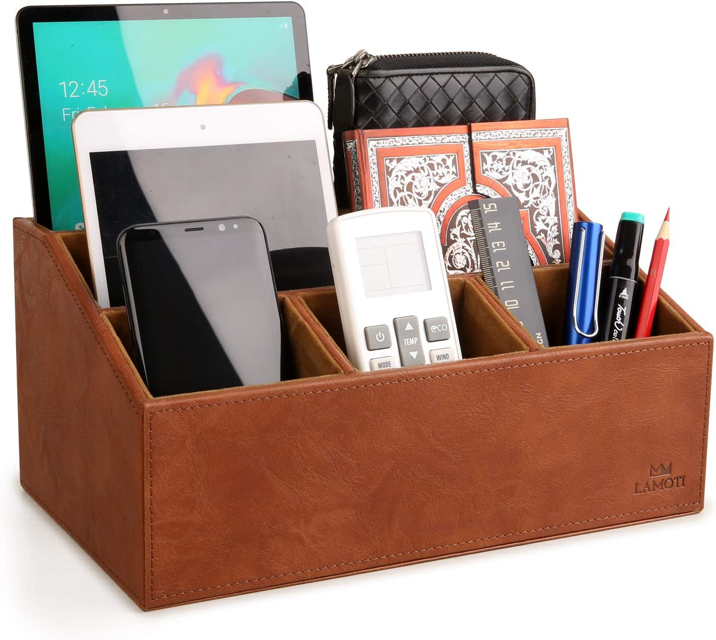 "LAMOTI Leather Desk Organizer with a 4"" Coaster, Large Capacity 5 Compartments Desktop Unifier, Handcrafted (Brown)"
