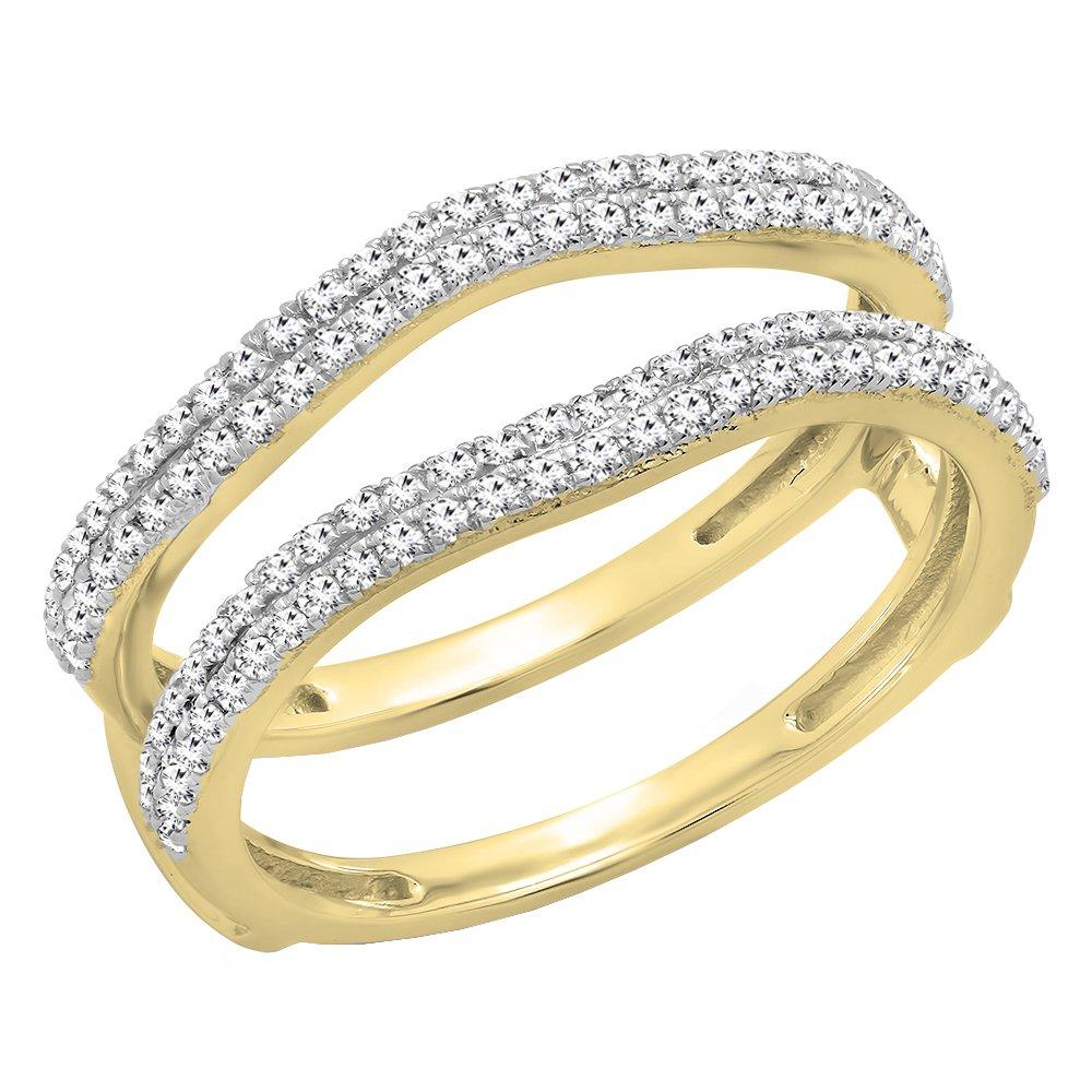 0.48 Carat (ctw) 10K Yellow Gold White Diamond Ladies Wedding Enhancer Double Ring 1/2 CT (Size 7.5)