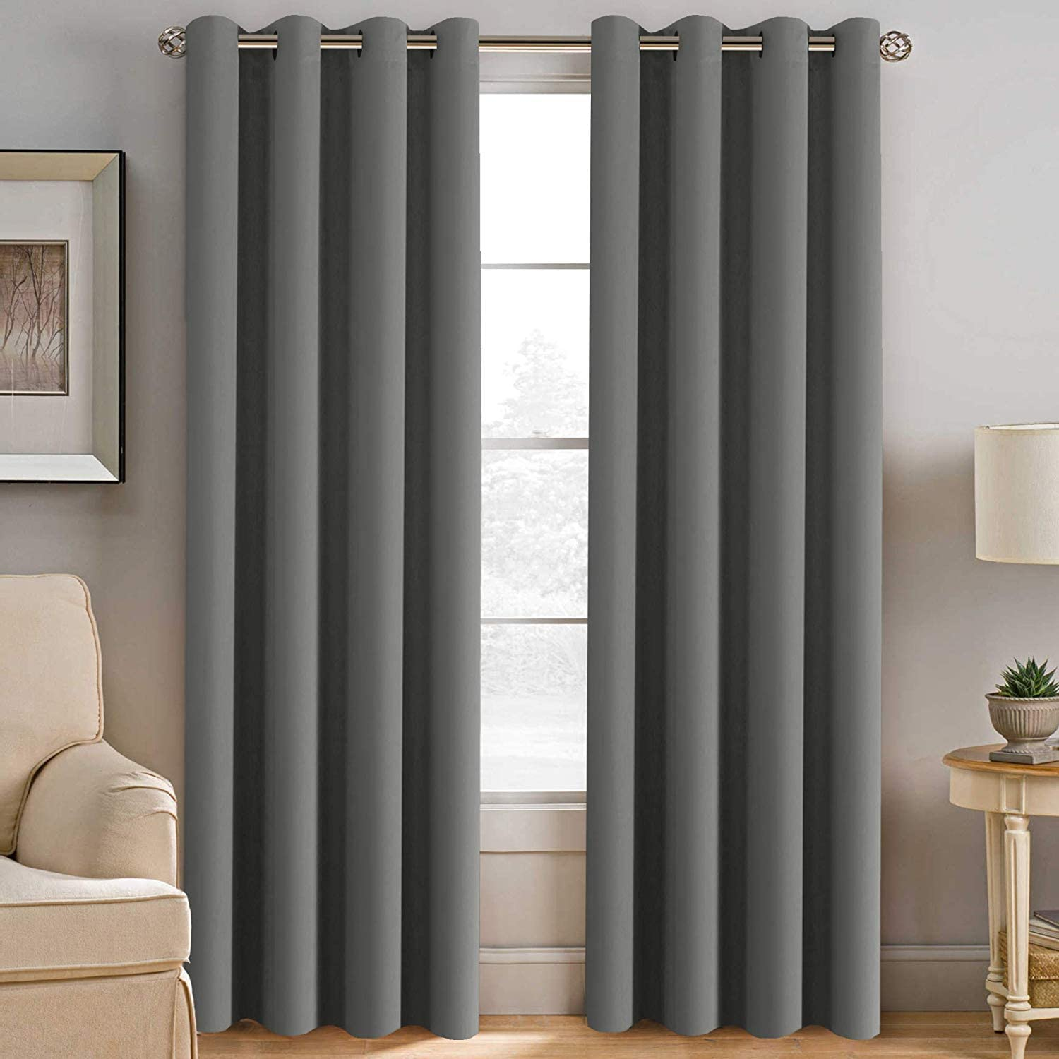 """INVACHI 2 Panels Super Soft Thermal Insulated Window Treatment Bedroom Curtains Blackout Eyelet Blackout Curtains for Livingroom (90"""" Wide X 90"""" Drop, Dark Grey)"""