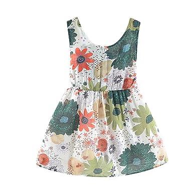 Fuibo - Vestido de Verano para niña, Bufanda, Summer o Playa ...