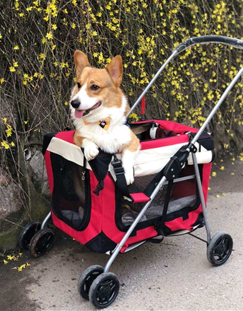 Red Pet Travel Stroller Portable Breathable Cat Dog Pushchair Oxford Cloth Trolley Trailer Foldable Maximum Weight 20kg