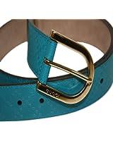Gucci Women's Diamante Leather Belt 354382 Bright Turquoise Blue, 40