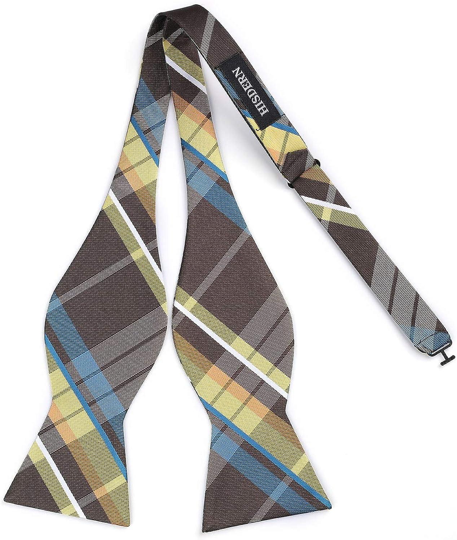 HISDERN Mens Plaid Check Jacquard Wedding Party Self Bow Tie /& Pocket Square Set
