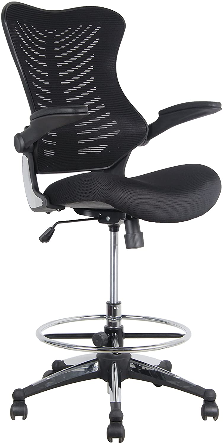 Office Factor Stool Clerk Teller Drafting Chair Reception Black Mesh Flip up Armrest Molded Seat with a Single Handle Mechanism (Stool Black MESH Fabric)