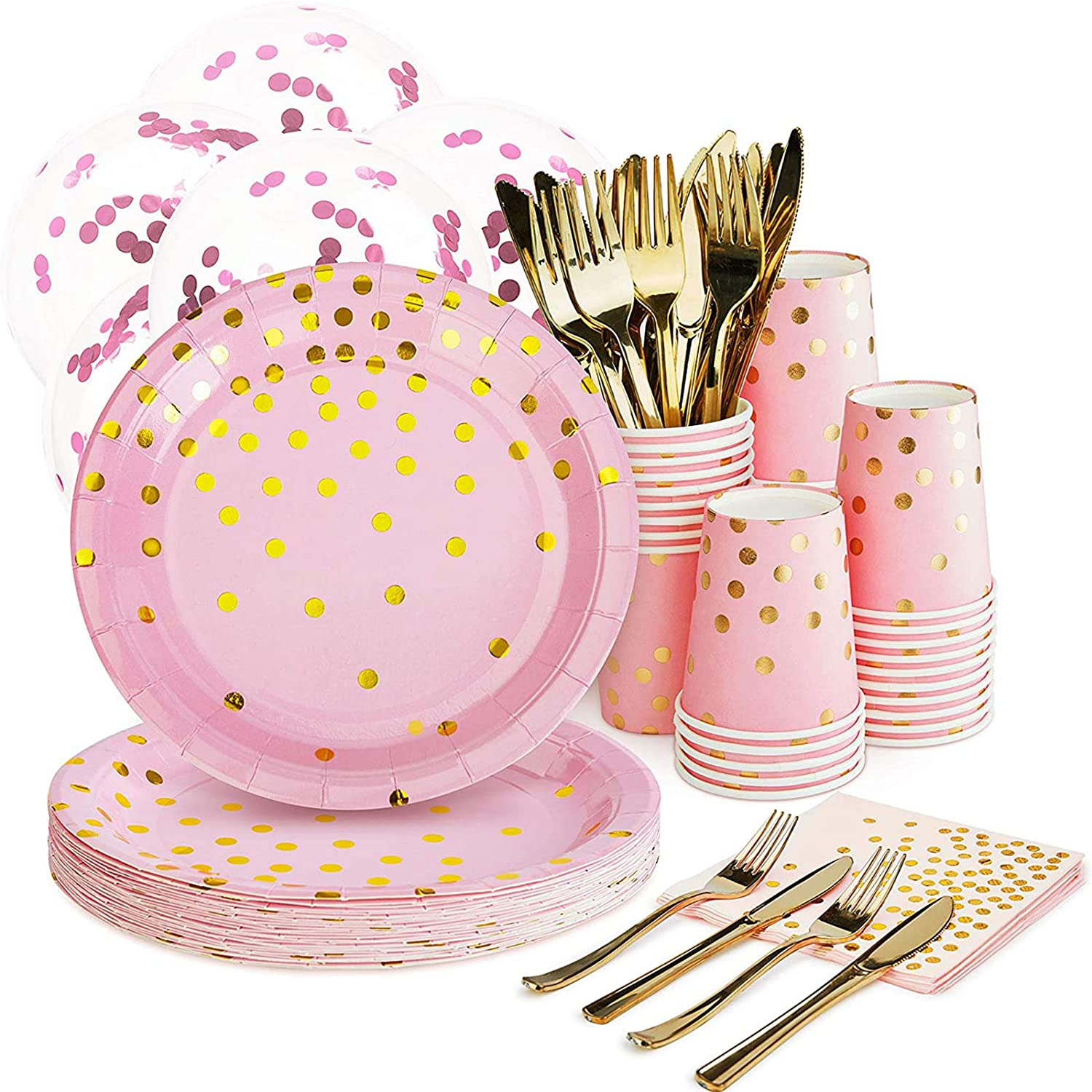 "Pink and Gold Party Supplies Set - 168PCS Pink Paper Plates Disposable Dinnerware Set Dots 7"" & 9"" Paper Plates Napkins Cups Forks Knives Balloons Serve 24 Birthday Party Wedding Baby Shower"