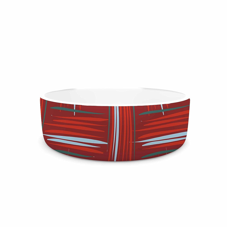 KESS InHouse Empire Ruhl Red and Rust Crosshatch Red bluee Digital Pet Bowl, 7  Diameter