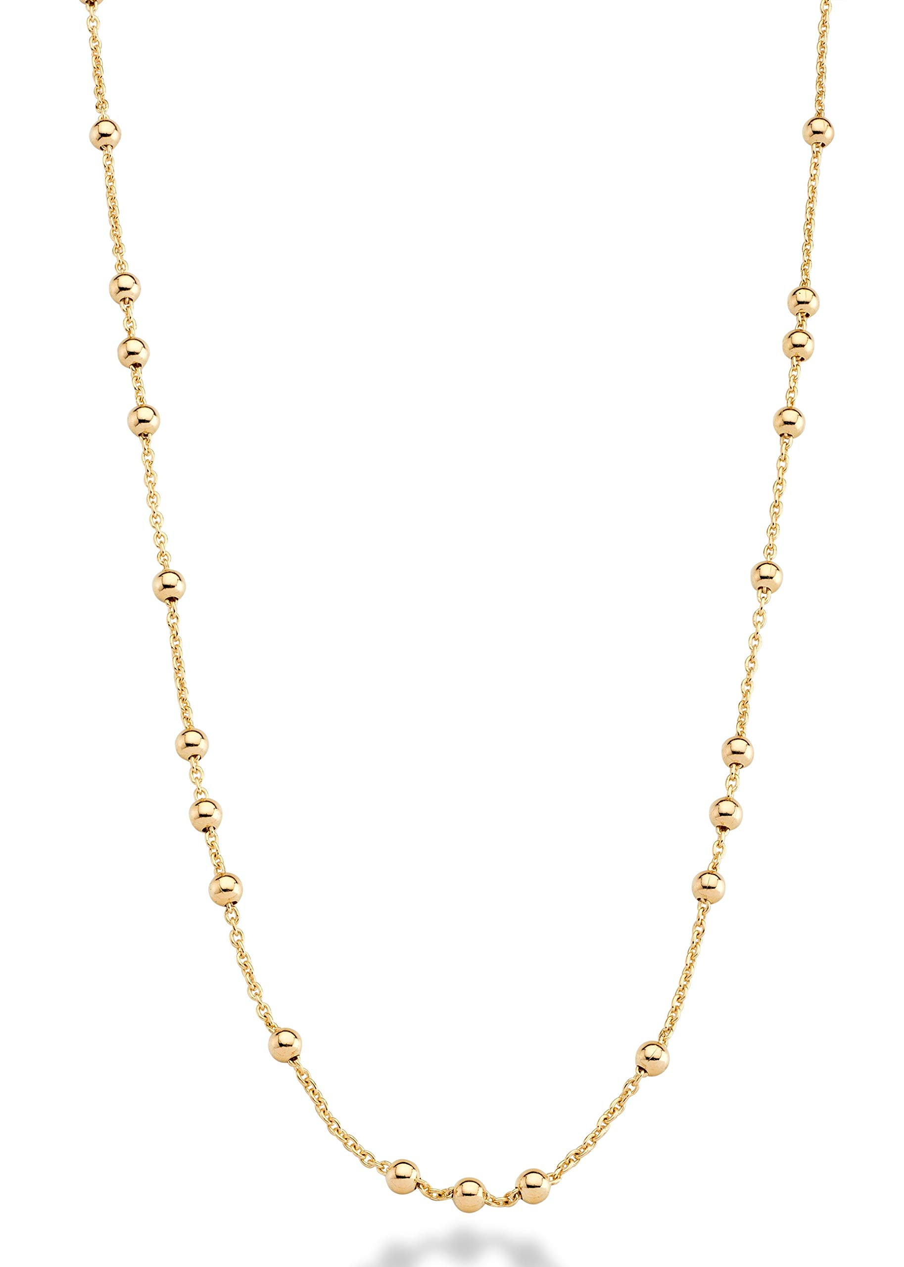 MiaBella 18K Yellow or Rose Gold Plated Italian Beaded Ball Rosary Long Wrap Layering Station Chain Necklace for Women, 60'' (Yellow-Gold-Plated-Bronze) by MiaBella