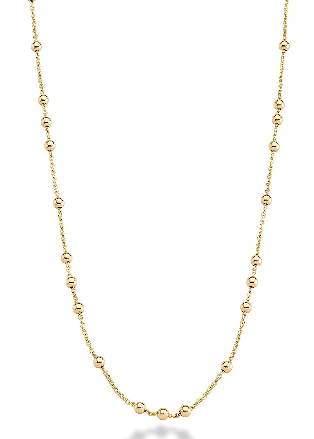 MiaBella 18K Yellow or Rose Gold Over Bronze Italian Bead Ball Rosary Long Wrap Layering Station Chain Necklace for Women Dversa Inc 3537 60 60 Rose-Gold-Plated-Bronze