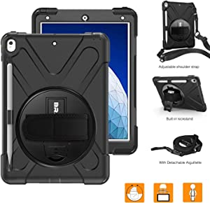 """BRAECNstock iPad Air 10.5"""" (3rd Generation) 2019 Case, iPad Pro 10.5"""" 2017 Case, Heavy Duty Rugged Shockproof Protective Case Cover with Pencil Holder,Rotatable Hand Strap/Stand,Shoulder Strap (Black)"""