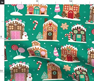 Spoonflower Fabric - Village Gingerbread House Candy Cookies Sweets Christmas Holiday Printed on Petal Signature Cotton Fabric by The Yard - Sewing Quilting Apparel Crafts Decor