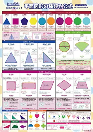 1枚で 平面図形 がわかるlearneasy 図形 を学ぼう平面図形の種類と公式ポスター プチバイリンガル英語付き 大判a2サイズ 一覧表 小学生算数教材