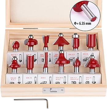 flintronic Fresas Set, 12 PCS Cortadores Madera de Diámetro de Caña Herramienta de Fresado | Kit de Herramientas de carpintería con Caja de Madera para el hogar y Bricolaje,6.35mm: Amazon.es: Bricolaje y