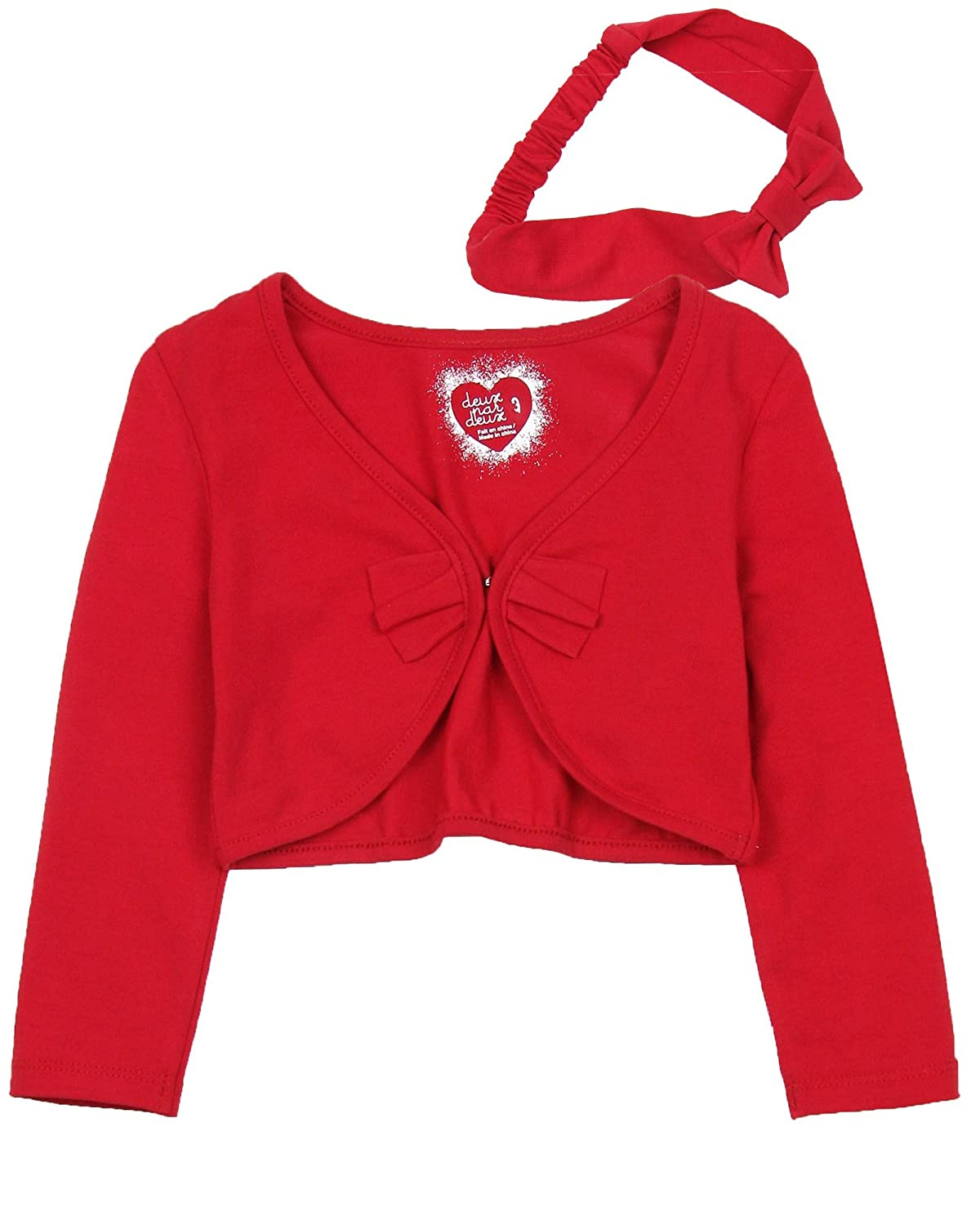 Deux par Deux Girls' Cardigan With Headband Red Orchid, Sizes 18M-6