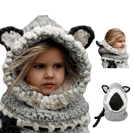 Bonice Enfants Animal Casquette Manteau Tricot Capuche Cagoule hiver en  laine tricotés chapeaux bébé des Filles b8d17c2273d