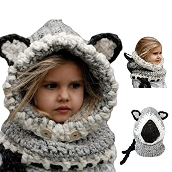 Knitted Child Hoodie Scarf Caps 3333050e4150