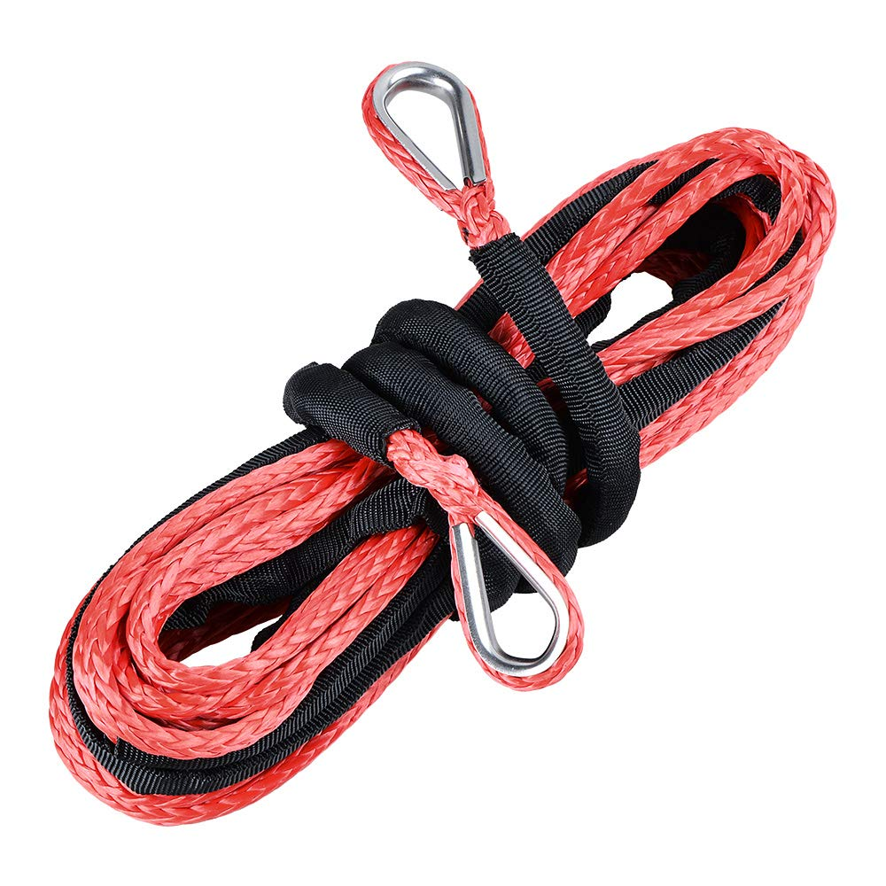 Anzios 1/4'' x50' ATV Synthetic Rope Extension Winch Cable with 39'' Rock Guard- Breaking Strength Max. 7500 lbs (Red) by Anzios