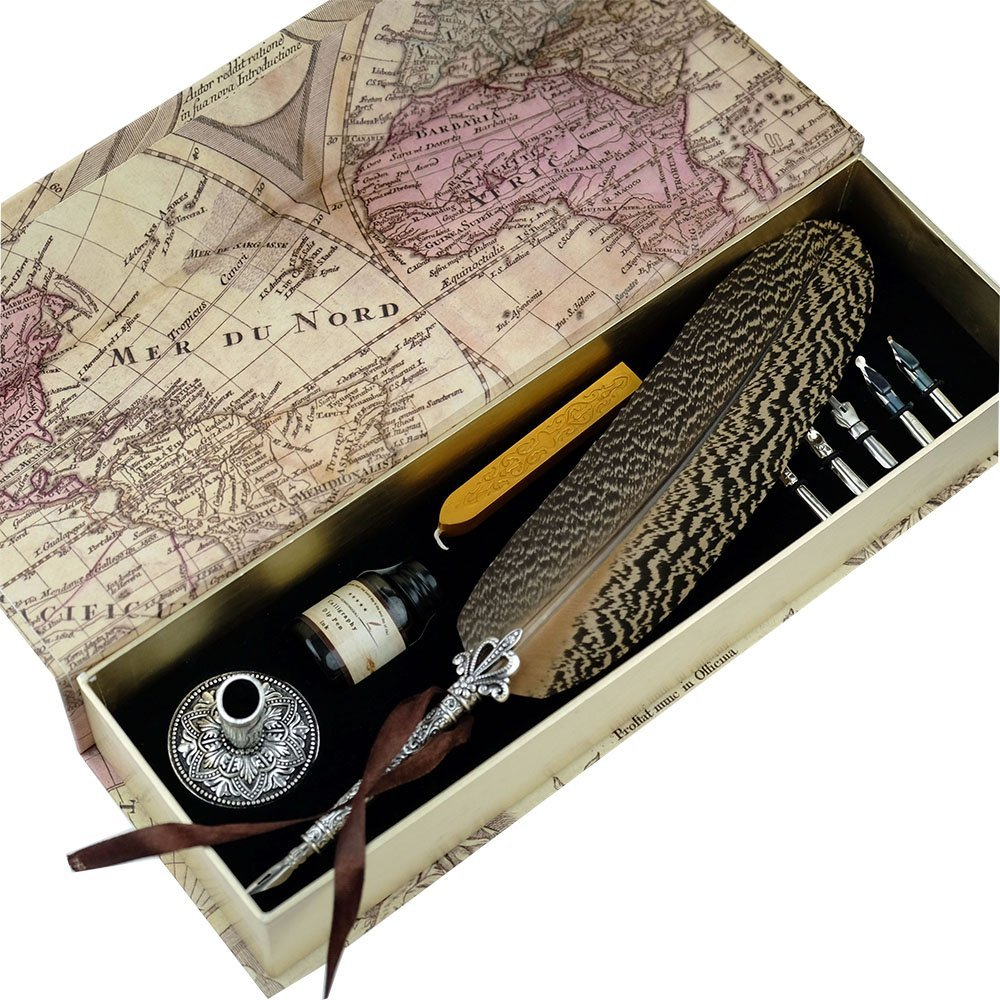 GC Quill Pen Beautiful Nuture Feather Metal Carving Pen Holder 6 Nibs Gift Set GCLL021 by GC WRITING QUILL
