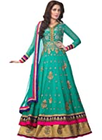 Clothfab Women's Faux Georgette Anarkali Salwar Suit Set (Suit-3004-New_Green)